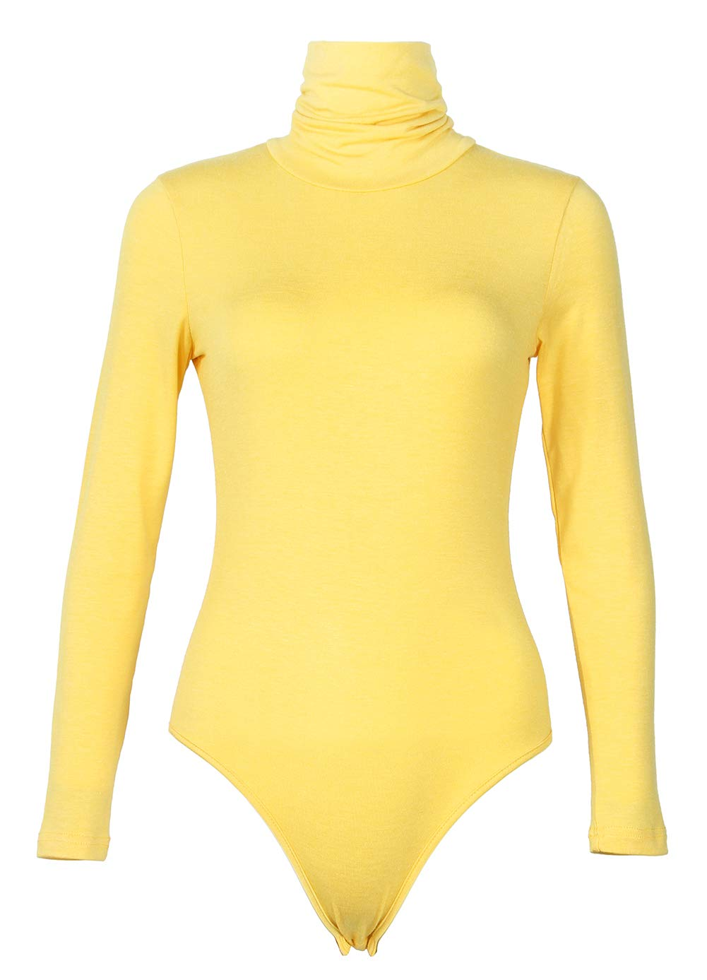 84ac3e5f33c GEMBERA Womens Stretchy Long Sleeve Turtleneck Cotton Bodysuits Shiny  Clubwear Tops Leotard Jumpsuits (Yellow