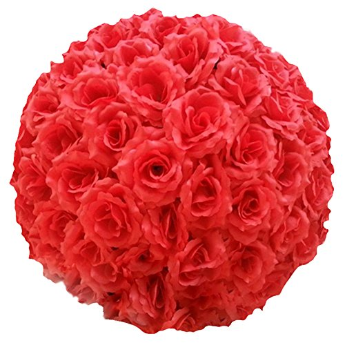 Mwfus Fabric Artificial Flowers Silk Rose Pomander Wedding Party Home (Kissing Ball)