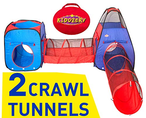 Kiddzery 4pc Kids Play tent Pop Up Ball Pit - 2 Tents + 2 Crawl Tunnels - Children Tent for Boys & Girls, Kids Toddlers & Baby, Large Playhouse For Indoor & Outdoor With Carrying Case, Great Gift Idea