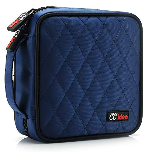 CCidea 40 Capacity CD/DVD Case Holder Portable Disc Wallet Storage Binder Nylon Cd Bag (Blue)