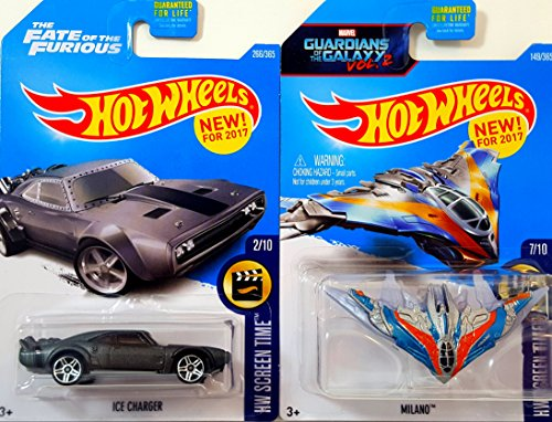 Hot Wheels Screen Time Fate of the Furious Ice Charger 266/365 and Guardians of the Galaxy Vol 2 Milano 149/365 Bundle (Milano Ice)