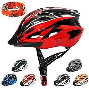 Casque de V/élo Unisexe Certifi/é CE pour Le Cyclisme en Plein air S/écurit/é Sportive Noir Rouge KINGLEAD Casque de V/élo avec Lumi/ère de S/écurit/é et Visi/ère de Protection