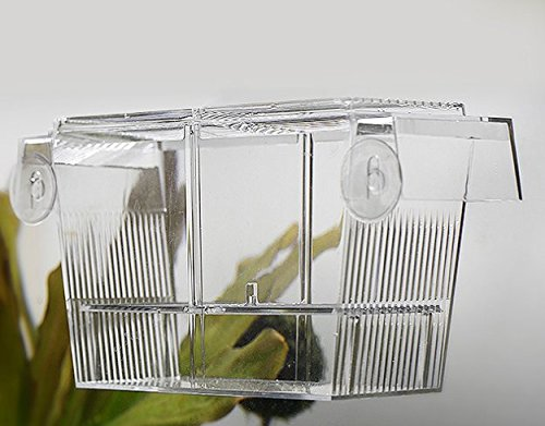 PETS ISLAND Aquarium Fishes Breeding Boxes Double Guppies Hatching Incubator Isolation Box (7.7 in)