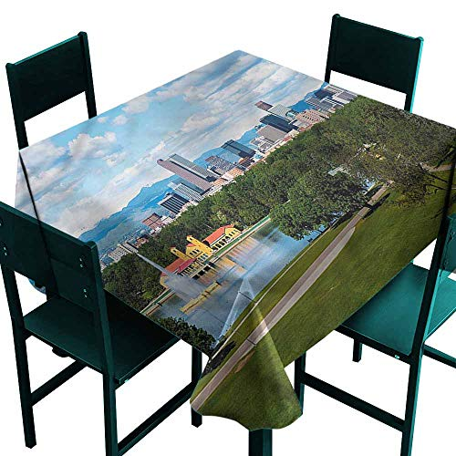 DONEECKL Dust-Proof Tablecloth Urban Sunny City Park at