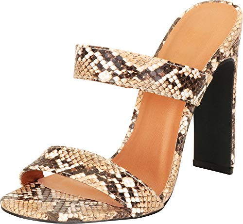 Cambridge Select Women's Open Toe Two-Strap Slip-On High Heel Mule Slide Sandal,5.5 B(M) US,Tan Snake PU