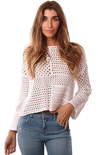 525 America Sweaters Wide Long Sleeve Mixed Crochet Pattern White Kni - White - S