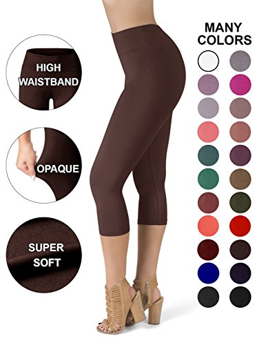SATINA High Waisted Super Soft Capri Leggings - 20 Colors - Reg & Plus Size (One Size, Brown)