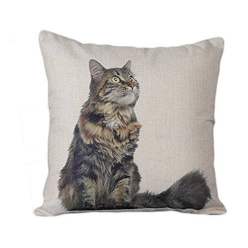 Monkeysell Linen Blend Sleepy Cats pattern of Square Decorative Throw Pillow Case Shell Cushion Cover 18