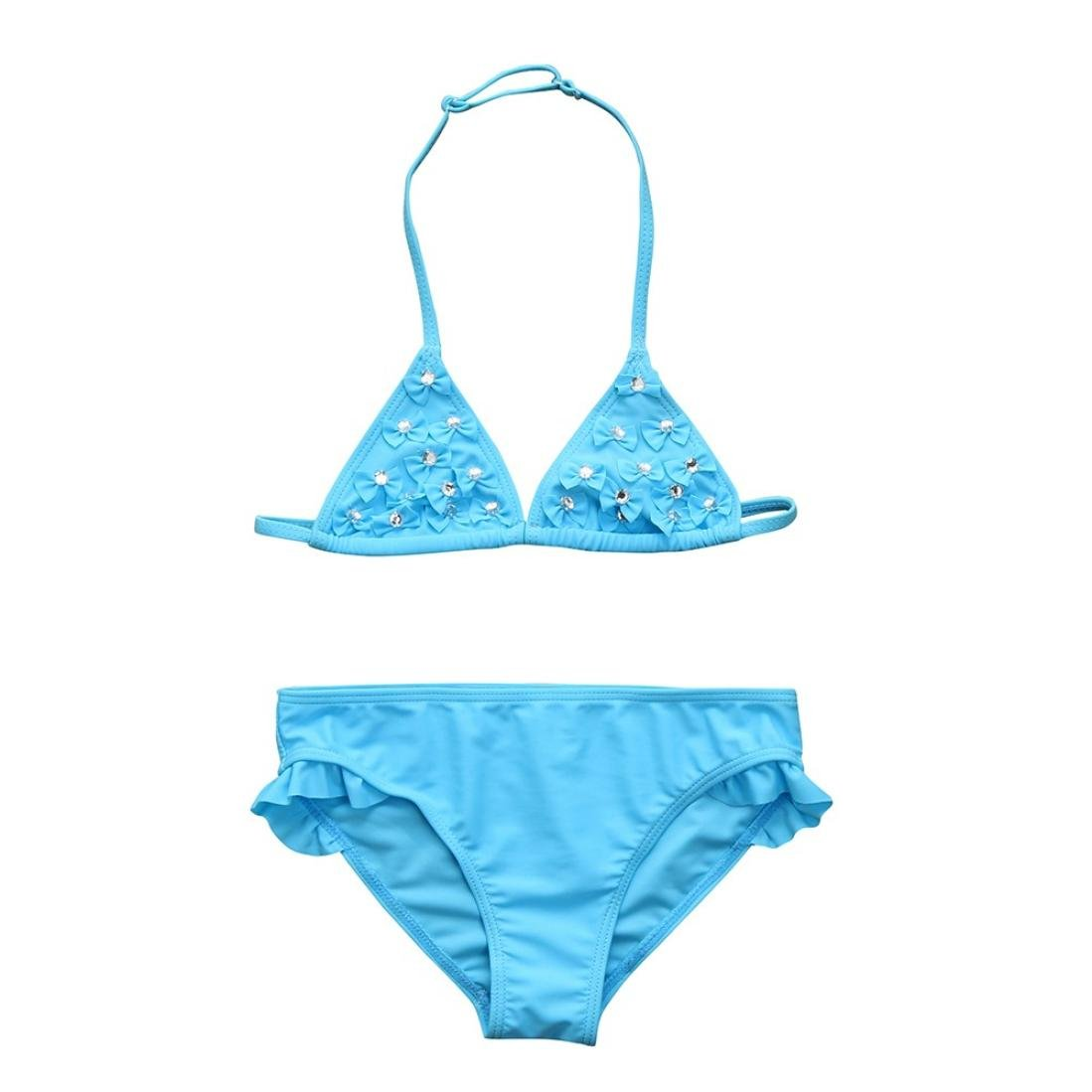Little Girls Swimsuits Size 4-7 Two Pieces Diamante Bowknot Swim Wear Bikinis Sets