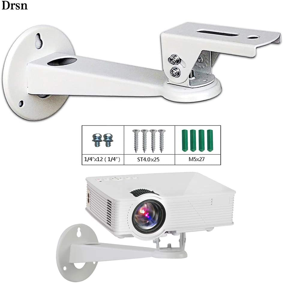 Mini Projector Wall Mount Drsn - for CCTV DVR Camera Projector - with Load 11 lbs Length 7.8 inch - Rotation 360° White