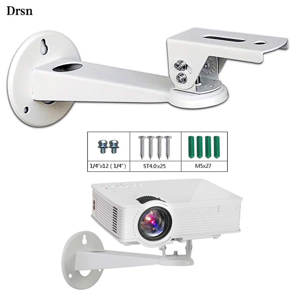 Drsn Mini Projector Wall Mount Mini Wall Mount CCTV DVR Camera Mount Projector Hanger with Load 11 lbs Length 7.8 inch Mounting Screw 1/4 inch Rotation 360° White for Mini Projector Canera Camcorder by Drsn