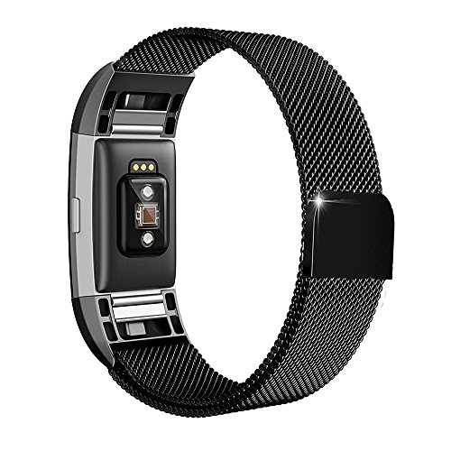 For Fitbit Charge 2 Bands Small Large Women Men Metal Replacement Accessories Bracelet Wrist Bands, Wearlizer Stainless Steel Milanese Loop Strap with Strong Magnet for Fitbit Charge 2 HR