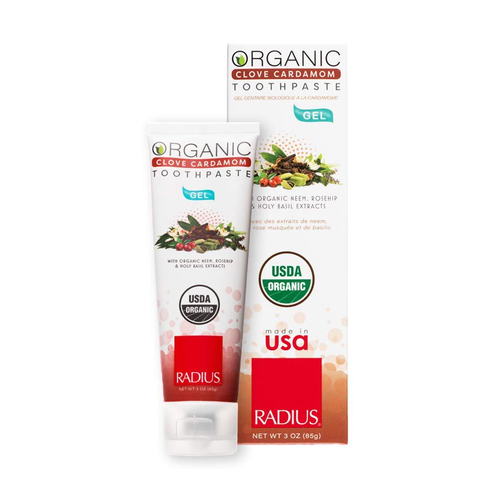 RADIUS USDA Organic Gel Toothpaste, Clove Cardamom, Non Toxic, Designed to Improve Gum Health and Reduce the Risk of Gum Disease, 3 Ounce