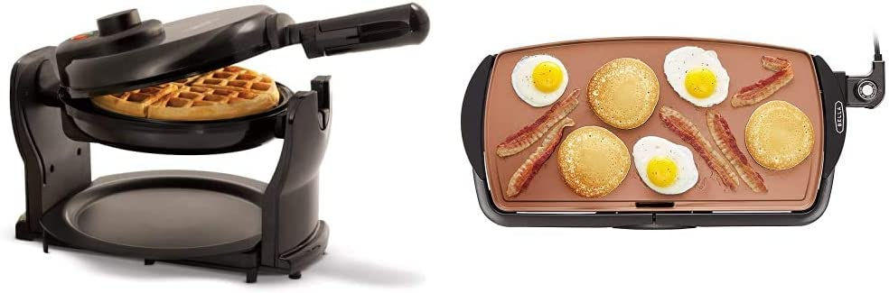BELLA Classic Rotating Non-Stick Belgian Waffle Maker, Black & Electric Ceramic Titanium Griddle, Make 10 Eggs At Once, Healthy-Eco Non-stick Coating, 10.5