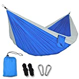 IC ICLOVER Camping Hammock Single & Double Hammock with 2 x Hanging Ropes & Carabiner Portable Outdoor Gear for Backpacking Survival Hiking Travel Lightweight Parachute Nylon