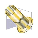 10-32-.130 Large Flange Blind Threaded Inserts | Flat Head RIBBED | Open End | 1008-1010 Low Carbon Steel | Zinc Yellow Dichromate Plating (QUANTITY: 1000)