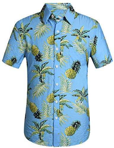 (Leisurely Pace Men's Hawaiian Aloha Shirt Short Sleeve Tropical Floral Print Button Down Shirt (02BL,M))