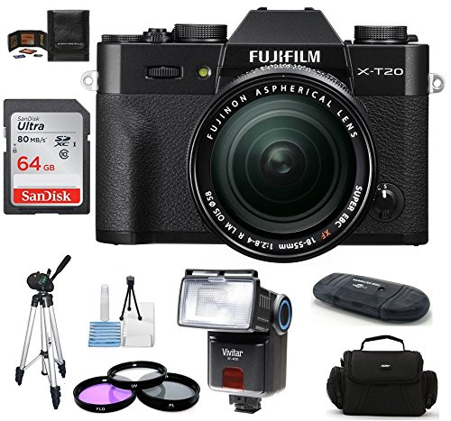 Fujifilm X-T20 Mirrorless Digital Camera with 18-55mm f/2.8-4 R LM OIS Zoom Lens Bundle, Includes 64GB SDXC Memory Card + Camera Bag + Tripod + More. (Xf18 55mmf2 8 4 R Lm Ois)