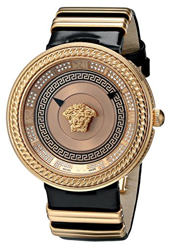 Versace Women's VLC060014 V-Metal Icon Analog Display Swiss Quartz Black Watch