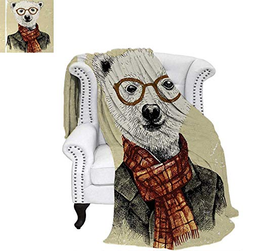 - Digital Printing Blanket Hipster Bear with Glasses Scarf Jacket Wild Mammal Humorous Artwork Summer Quilt Comforter 80