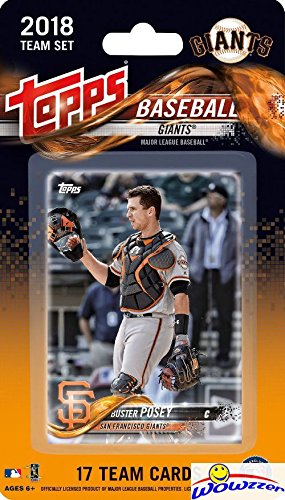 San Francisco Giants 2018 Topps Baseball EXCLUSIVE Special Limited Edition 17 Card Complete Team Set with Buster Posey, Johnny Cueto & Many More Stars & Rookies! Shipped in Bubble Mailer! WOWZZER! (Mlb Team Set Topps)
