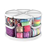 Deflecto Rotating Carousel Craft Storage Organizer, 9-Canister Configuration Includes 3'' and 6'' Canisters, Removable, Clear, White Lids (3901CR)