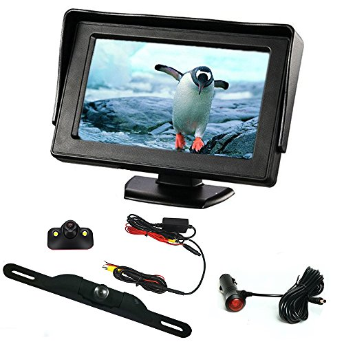 B-Qtech Backup Camera and Monitor Kit – 4.3 ' LCD Monitor Rear View Camera and Car Blind Spot Camera with Waterproof Night Vision Automatically Switch Screen For Car / Vehicle To Avoid Blind Areas