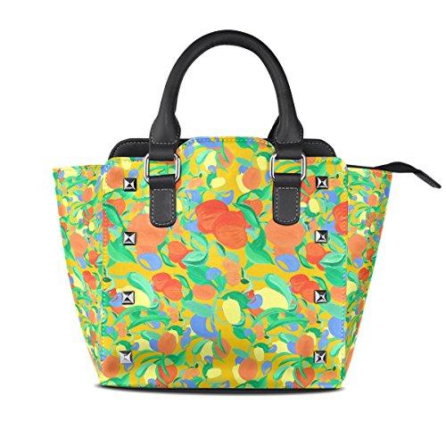 COOSUN Frutas patrón PU cuero Bolsa de hombro asa superior del totalizador del bolso del bolso de Crossbody Medio Multicolor # 3
