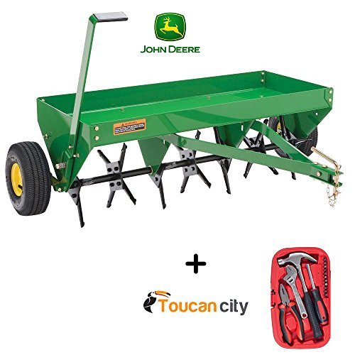 John Deere 40 in. Tow-Behind Plug Aerator PA-40JD and Toucan City Tool Kit ( 15-Piece ) by Toucan City