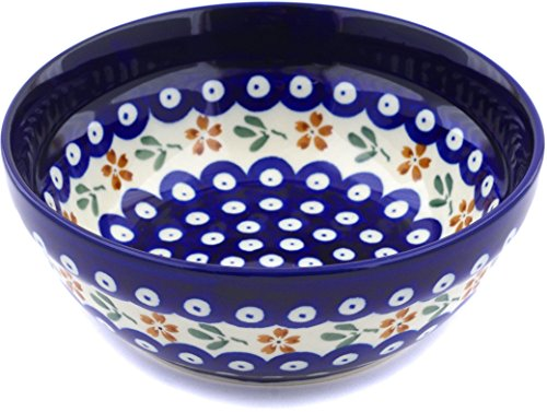 Polish Pottery 6½-inch Bowl (Red Daisy Peacock Theme) + Certificate of Authenticity