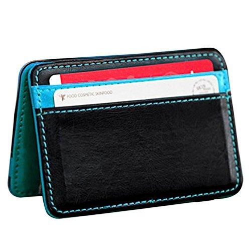 Hot Sale Wallet Purse,AmyDong Unisex Bifold Leather Wallet Card Holder Wallet Purse Money Clip Mini Coin Purse (Light Blue)