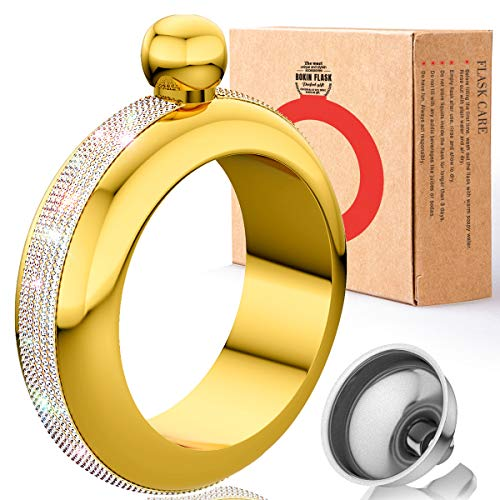 BOKIN Bracelet Bangle Flask 304 Stainless Steel with Handmade Crystal, Funnel in Gift Box for Women Girls Dance Birthday Party Club Bar, 3.5oz(Gold)