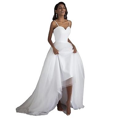 CXJ Beach Wedding Dresses Cheap Tulle Spaghetti Strap Sashes Seeep ...