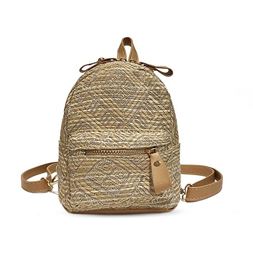 18 Multi Female Bag Godea Backpack Color Purpose Mini Grass Backpack Small New Fashion Shoulder Hit White Woven dnwwOB0q