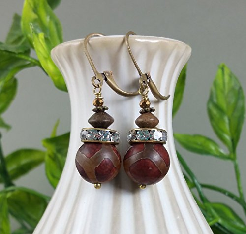 Red Agate Carved Gemstone Earrings in Matte Antique Brass with Faceted Crystals