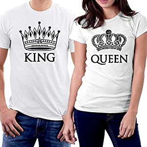 picontshirt King and Queen Couple T-Shirts White Crowns
