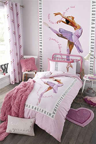 BALLERINA DANCER POLKA DOT PINK COTTON BLEND USA TWIN (135CM X 200CM - UK SINGLE) DUVET COMFORTER -