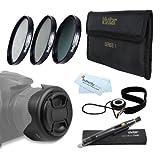 62MM Pro Lens Kit for Nikon Df, D7100, D7000, D5300 D5200 D5100 D3200 D3100 D800 D600 D610 DSLR Camera Includes 3pc Filter Kit (UV CPL ND8 Neutral Density Filter) + Reversible Tulip Lens Hood + More