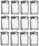 Nakpunar 12 pcs, 6 oz Square Glass Jars with Gold Lids for Jam, Honey, Wedding Favors, Shower Favors, Baby Foods, DIY Magnetic Spice Jars