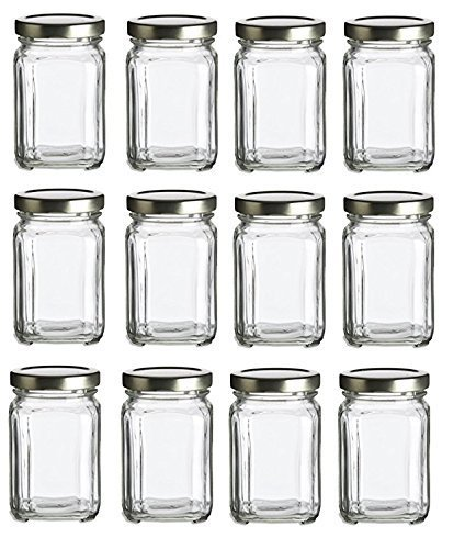 nakpunar 12 pcs 6 oz square glass jars with gold lids for jam honey wedding favors shower favors baby foods diy magnetic spice jars - Spice Jars
