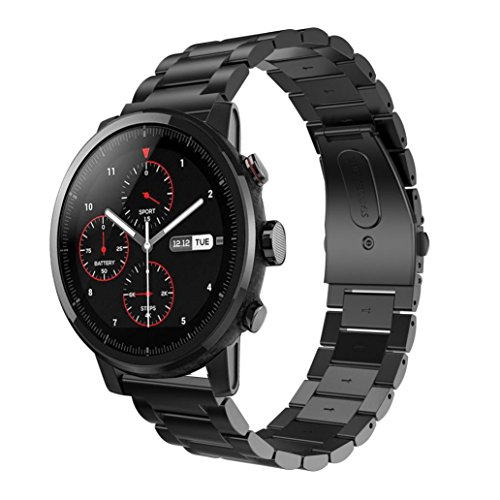 Autumnfall Huami Watch Band Stainless Steel Sports Watch Band Strap For Huami Amazfit Stratos 2 Smart Watch 22Mm Band Length 168Mm  Black