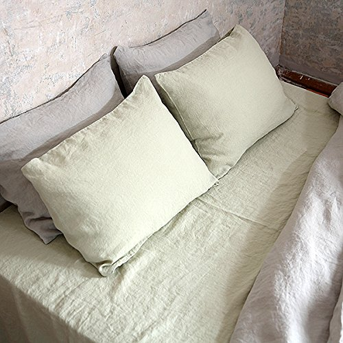 LinenMe Stone Washed Bed Linen Fitted Sheet, 60 by 80 by 14-Inch, Aloe Green 51pBHc2 T2L