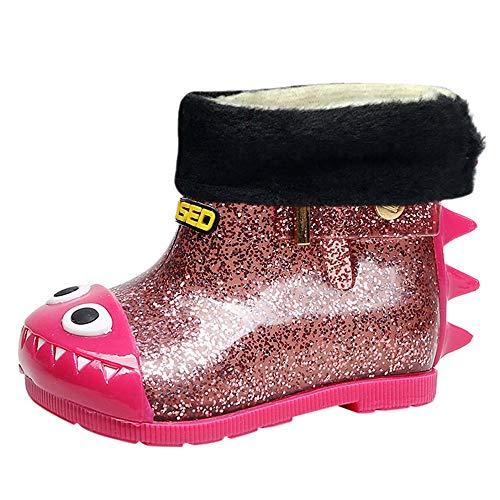 AgrinTol Children Kids Baby Warm Waterproof Bling Cartoon Dinosaur Rain Boots Shoes