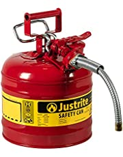"""Justrite 7220120 - Galvanized Steel, AccuFlow Type II Red Safety Can with 5/8"""" Flexible Spout, Large ID Zone, Meets OSHA & NFPA for Handling Hazardous Liquids. 2 Gallon (7.5L) Size."""