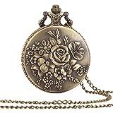 ALIENWOLF Antique Analog Rib Pocket Watch Watches Pendant + Chain Flowers