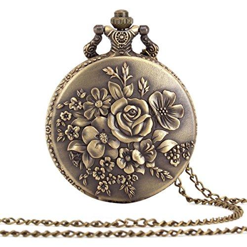 ALIENWOLF Antique Analog Rib Pocket Watch Watches Pendant + Chain - Chain Off Watch