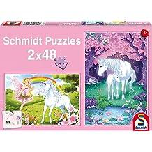 SCHMIDT Child 2 X 48 Unicorn Enchantment Puzzle, 48-Piece