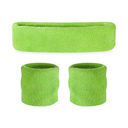 Suddora Kids Sweatband Set (1 Headband / 2 Wristbands) (Neon -