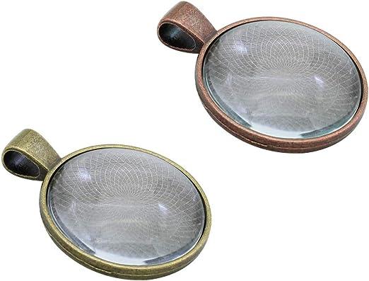 colori assortiti Kit di vassoi per ciondoli composto da 10 vassoi per pendenti lunette ovali e 10 pezzi di piastrelle a cupola in vetro argento Cooper Bronzo-A Style-20pcs
