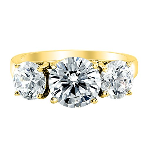 (1 Carat 3 Three Stone Round Diamond Engagement Ring 14K Yellow Gold F-G Color VS1-VS2 Clarity )